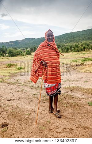 Kenya, Africa - March 7, 2016: Man from Masai tribe poses for a picture portrait
