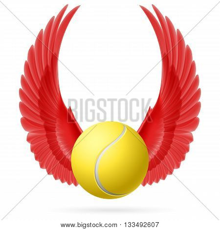 Tennis ball with raised up red wings emblem