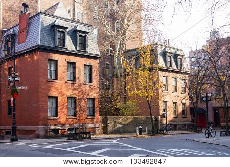 Commerce Street scene in the historic Greenwich Village neighborhood of Manhattan in New York City