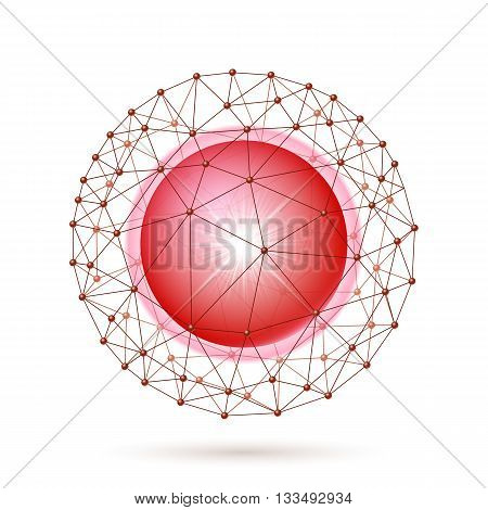 Bright red ball inside the internet grid on a white background