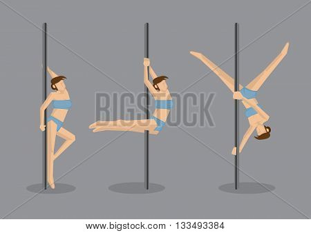 Set of three vector illustration of seasoned dancer doing challenging pole dancing moves isolated on grey background.