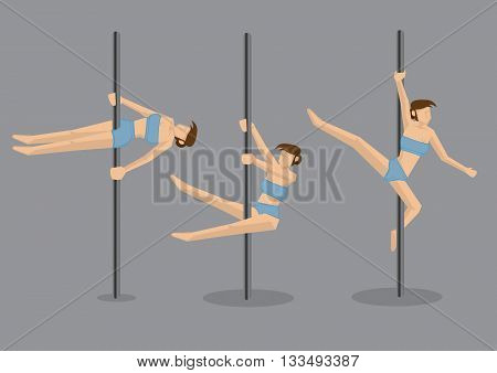 Woman pole dancer showing acrobatic pole dance moves tabletop spinning straddle and corkscrew. Set of three vector cartoon characters isolated on grey background.