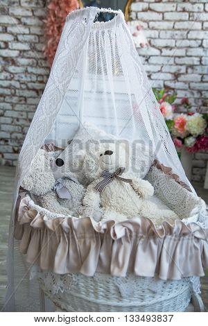Children Wicker Cradle With Teddy Bears