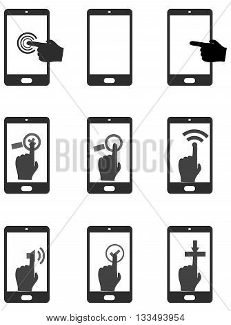 touch mobile icon symbol human finger touch