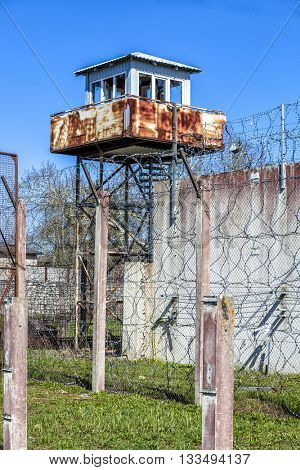 Abandoned Soviet time prison in Rummu quarry, Estonia