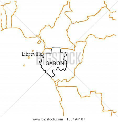 Gabon country with its capital Libreville in Africa hand-drawn sketch map isolated on white