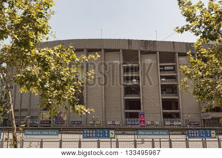 BARCELONA SPAIN - JULY 12 2013: The stadium Camp Nou in Barcelona. At this stadium played the world-famous soccer club