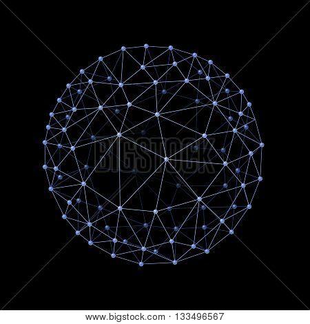 Internet web envelopes sphere on the black background