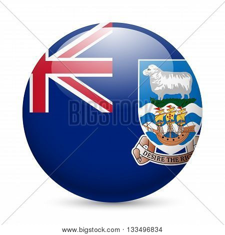 Flag of Falkland Islands as round glossy icon. Button with flag design