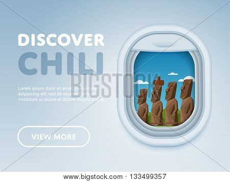 Discover Chili. Traveling the world by plane. Tourism and vacation theme. Attraction of airplane window. Modern flat vector design banner.