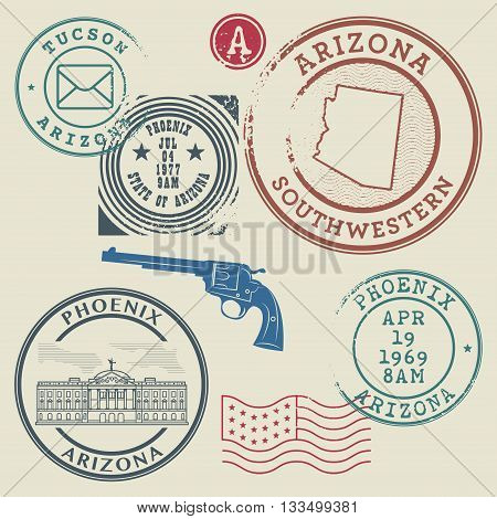 Retro postage stamps set, United states theme, vector illustration