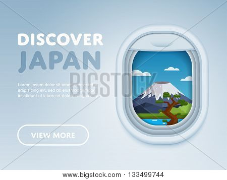 Discover Japan. Traveling the world by plane. Tourism and vacation theme. Attraction of airplane window. Modern flat vector design banner.