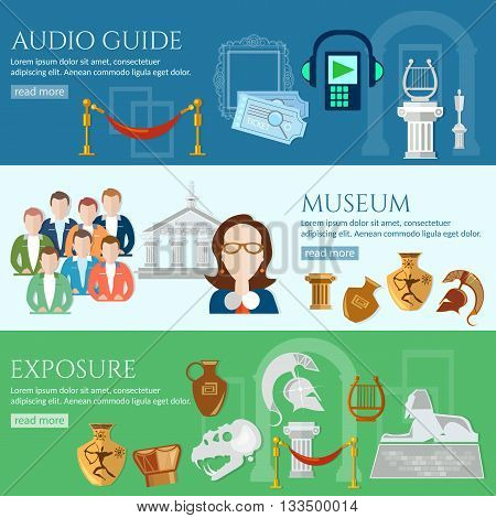 Archeological museum banner tour guide museum group of tourists gallery history and culture of civilization vector
