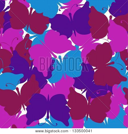 Butterfly seamless pattern. Light blue dark red pink violet butterfly. Nature seamless background. Vector illustration. Used for cards, invitations, fabrics, wallpapers, wrapping, scrap-booking