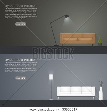Living room banners for web design. Living room interior . Vector illustration