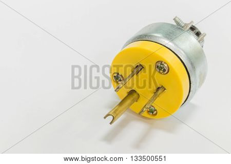 standard AC line plug on the white background