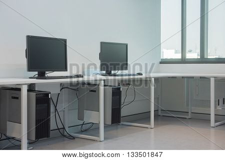 workplace room with computers ,classroom computer .