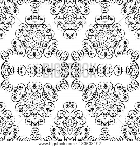 Abstract black and white Arabian seamless background EPS8 - vector graphics.