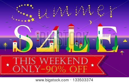 Summer Sale Inscription. . This weekend only. Ninety percents off. Night beach. Holiday white houses Font. Inscription by stars in the sky. Red banner for custom text. Illustration.