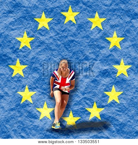 United Kingdom exit from europe relative image. Brexit named politic process. Healthy young woman preparing for a run. Fit female athlete ready for a spring over crumpled paper backdrop