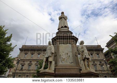 Monument To Leonardo Da Vinci In Milan