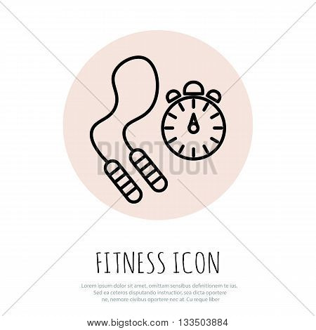 Skipping rope and stopwatch icons. Vector illustration
