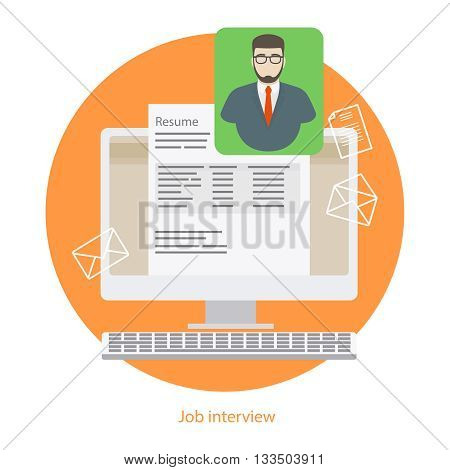 Hire interview or job interview. Human resources recruiting sign. Vector illustration