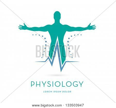 A MAN'S SILHOUETTE WITH OPES ARMS INCORPORATED WITH A HEARTBEAT , VECTOR LOGO / ICON