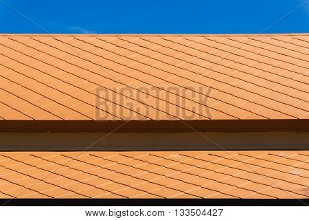 close up Roof terracotta tile with blue skies vintage style