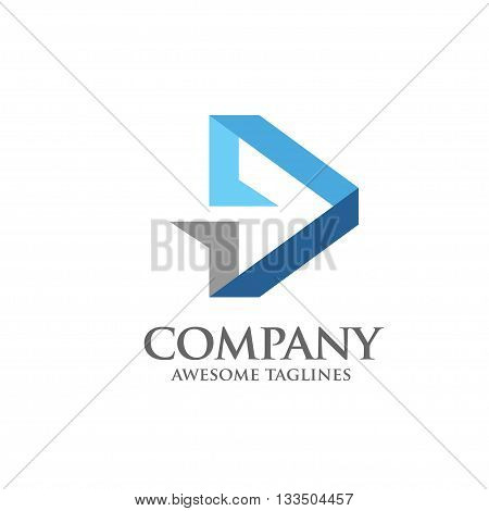 Arrow abstract logo vector template with modern flat color
