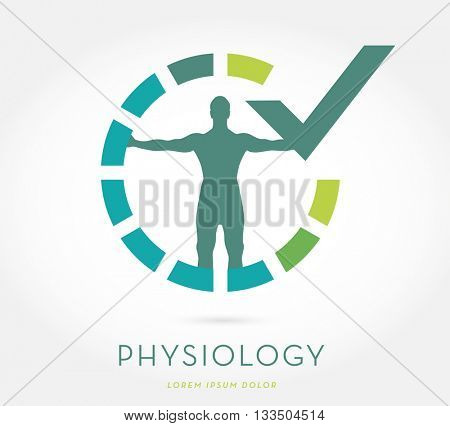 MAN'S SILHOUETTE WITH OPEN ARMS , INSIDE AN INTERMITTENT CIRCLE WITH GRADIENT COLOR SYMBOLIZING PROGRESS , INCORPORATED WITH A CHECK MARK , VECTOR LOGO / ICON