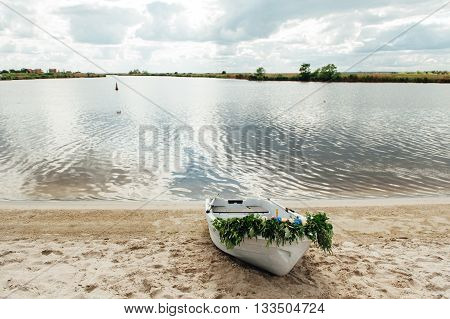 Single White Boat On The River