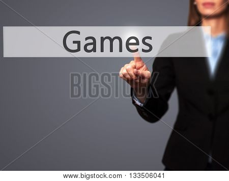 Games - Businesswoman Hand Pressing Button On Touch Screen Interface.