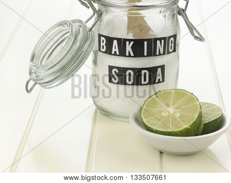 baking soda and lemon on the white background