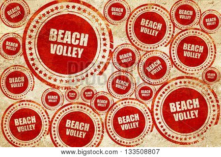 beach volley sign, red stamp on a grunge paper texture