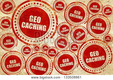 geocaching sign background, red stamp on a grunge paper texture