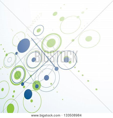 Bauhaus retro perspective green art vector background made using grid and circles. Geometric graphic 1960s illustration can be used as booklet cover design.