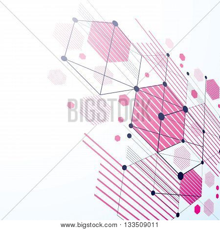 Modular Bauhaus 3d vector magenta background created from simple geometric figures like hexagons and lines.