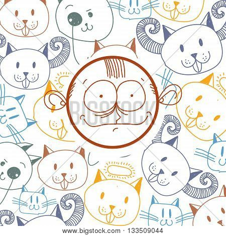Vector colorful illustration of cartoon happy boy isolated on special background with hand drawn design elements cats. Social interaction idea. Facial expressions on teenager face.