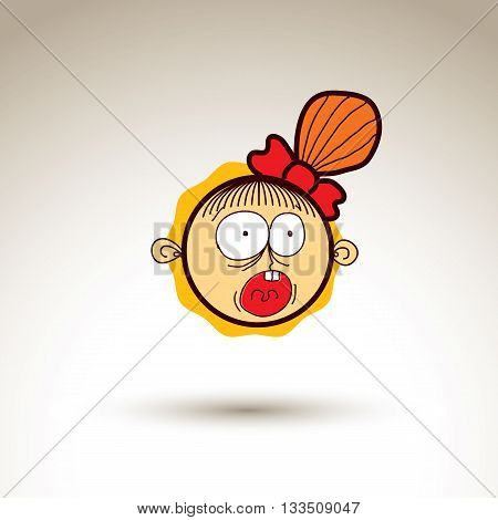 Vector Hand Drawn Happy Girl With Fashionable Hairdo. Facial Expression Theme Graphic Element Isolat