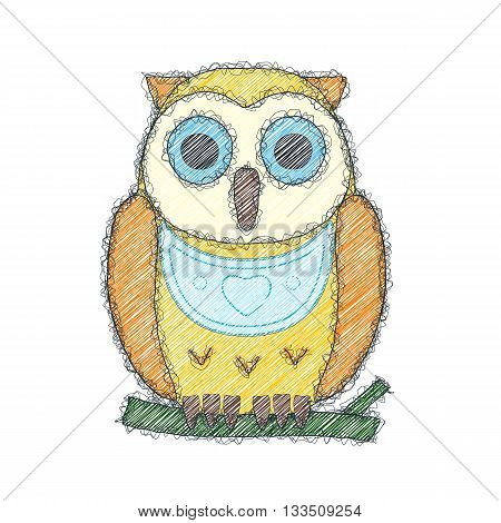The owl. Sketch doodle illustration. Imitation of the hand made doodle style. Vector.