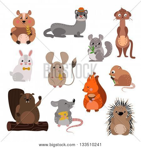 Cartoon rodents animals vector set.