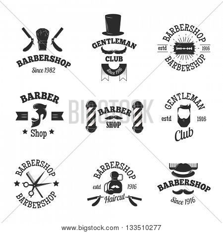 Barber shops symbols vector set.