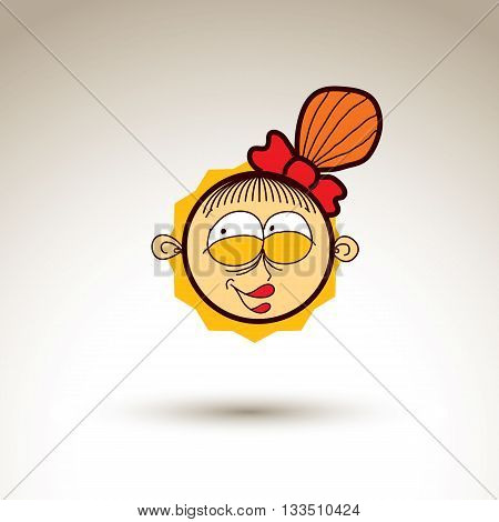 Vector Graphic Art Drawing Of Kid Face, Hand Drawn Smiling Happy Cute Girl With Stylish Haircut. Soc