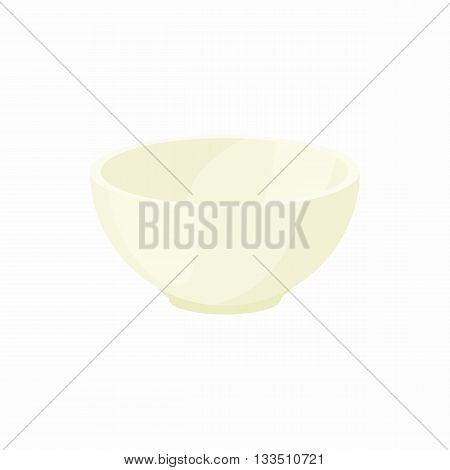 Empty white bowl icon in cartoon style on a white background
