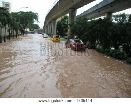 Flooded Street In Singapore