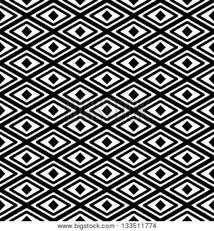 abstract seamless pattern with rhombus in black and white