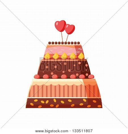 Wedding cake icon in cartoon style on a white background