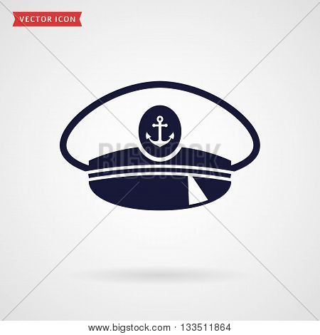 Captain hat icon isolated on white background. Sea nautical and travel themes. Vector illustration.