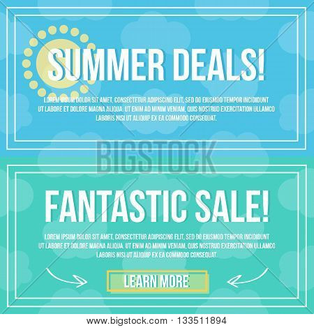 Summer deals and fantastic sale banners, cards, coupons or website flat design vector template.